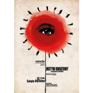 Blumenmotiv im polnischen Plakat. 12. Fest der Gärten Ryszard Kaja Polnische Ausstellungsplakate