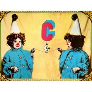 Zirkus Zwei Clowns Andrzej Klimowski Polnische Zirkusplakate