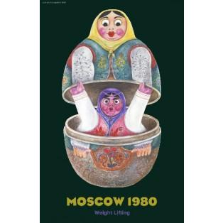 Moscow 80 Weight Liffting Leonard Konopelski Polnische Plakate