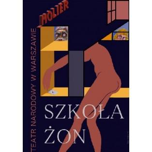 Schule der Frauen Leonard Konopelski Polnische Theaterplakate