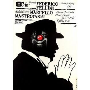 Achteinhalb Federico Fellini 8,5 Andrzej Pągowski Polnische Filmplakate