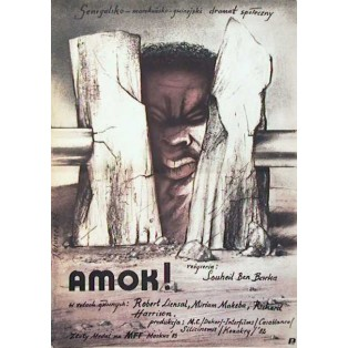 Amok Aufruhr in Afrika Souheil Ben-Barka Jerzy Głuszek Polnische Filmplakate
