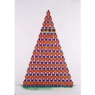 Zirkus Pyramide von Akrobaten Jan Sawka Polnische Zirkusplakate
