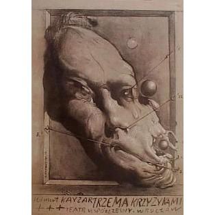 Mit drei Kreuzchen Breslau Franciszek Starowieyski Polnische Theaterplakate