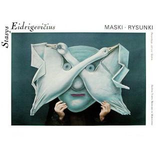 Masken Zeichnungen Galerie des Nowy-Theaters Warszawa Stasys Eidrigevicius Polnische Ausstellungsplakate
