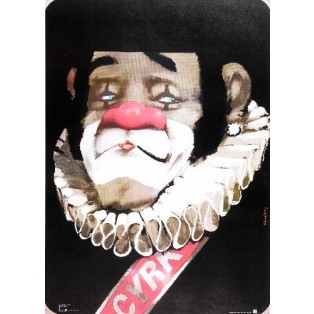 Zirkus Clown mit Krause Waldemar Świerzy Polnische Zirkusplakate