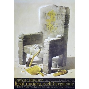 Der König stirbt oder die Zeremonien Wiesław Wałkuski Polnische Theaterplakate