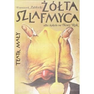 Gelbe Schlafmütze Wiesław Wałkuski Polnische Theaterplakate