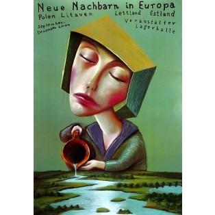 Neue Nachbarn in Europa Leszek Żebrowski Polnische Plakate
