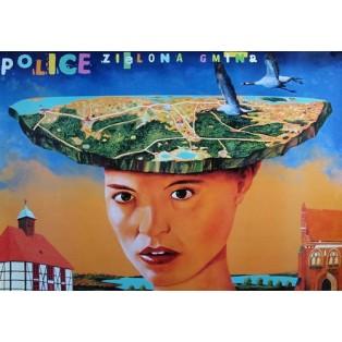 Police die grüne Gemeinde Leszek Żebrowski Polnische Plakate