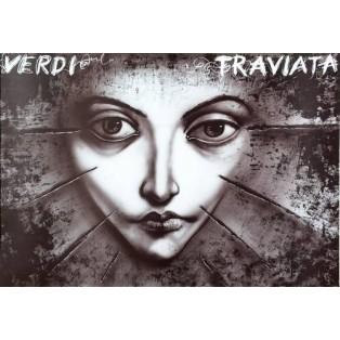 Traviata - Verdi Leszek Żebrowski Polnische Opernplakate