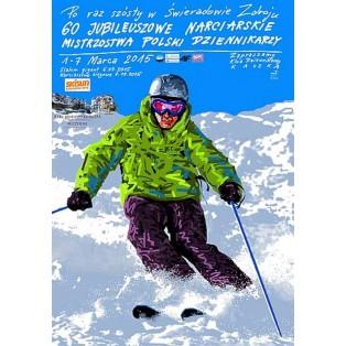 Skimeisterschaft der polnischen Journalisten 60 Świeradów Zdrój Leszek Żebrowski Polnische Plakate