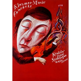 Klezmer-Musik Konzerte - Isaac Synygogue Krakau Kupa Straße 18  Leszek Żebrowski Polnische Musikplakate