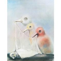 Ohne Titel Begräbnis eines Vogels