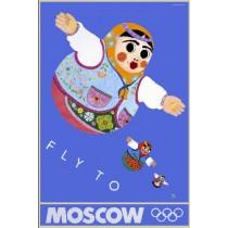 Moscow 80 Moscow Fly To Moscow Leonard Konopelski polski plakat