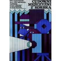 Cudowni mężczyzni z korbką Jiri Menzel Andrzej Krajewski polski plakat