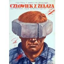Człowiek z żelaza Andrzej Wajda Rafał Olbiński polski plakat