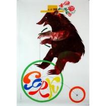 Circus Miś na rowerze Jerzy Srokowski polski plakat