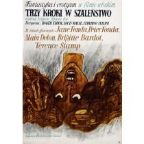 Trzy kroki w szalenstwo Federico Fellini, Louis Malle Marian Stachurski polski plakat