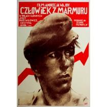 Człowiek z marmuru Andrzej Wajda Waldemar Świerzy polski plakat