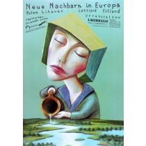 Nowi sąsiedzi w Europie Leszek Żebrowski polski plakat