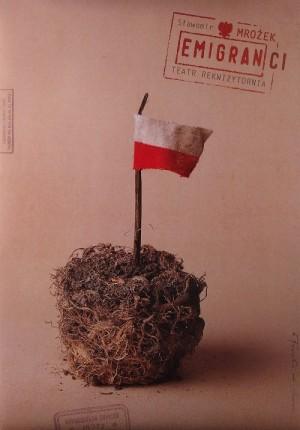 Emigranci Sławomir Mrożek Tomasz Bogusławski Polski plakat teatralny