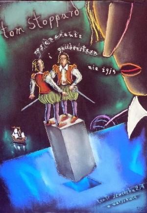 Rosencrantz i Guildenstern nie żyją Tom Stoppard Andrzej Dudziński Polski plakat teatralny
