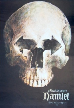 Hamlet - William Shakespeare Wiesław Grzegorczyk Polski plakat teatralny