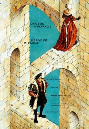 Ona i On w plakacie Wiesław Grzegorczyk Polski plakat wystawowy