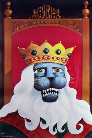 Cyrk Lew w koronie Hubert Hilscher Polski plakat cyrkowy