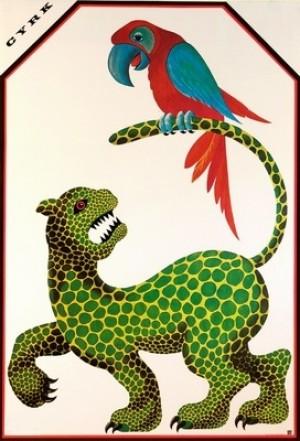 Cyrk Jaguar i papuga Hubert Hilscher Polski plakat cyrkowy