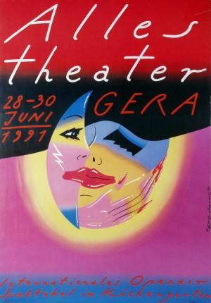 Alles Theater Gera 1991 Roman Kalarus Polski plakat teatralny