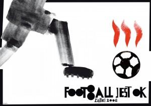 Footbol jest OK! piłka płonąca Sebastian Kubica Polski plakat