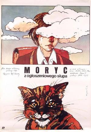Moryc z ogłoszeniowego słupa Grzegorz Marszałek polski plakat