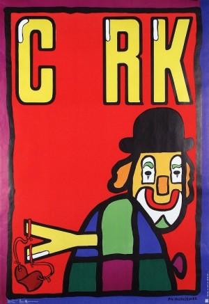 Cyrk. Clown z procą Jan Młodożeniec Polski plakat cyrkowy