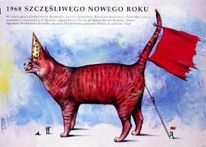 1968. Szczesliwego Nowego Roku Jacek Bromski Andrzej Pągowski Polski plakat filmowy