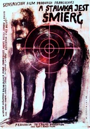 A stawką jest śmierć Wiktor Sadowski Polski plakat filmowy