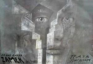Zamek Franz Kafka Wiktor Sadowski Polski plakat teatralny