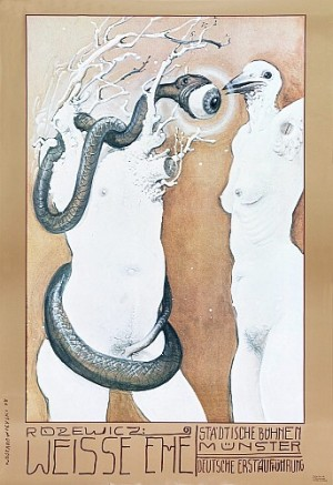 Białe małżeństwo, Tadeusz Różewicz Franciszek Starowieyski Polski plakat teatralny