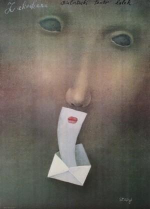 Zakochani Stasys Eidrigevicius Polski plakat teatralny