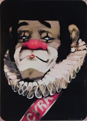 Cyrk klaun z kryzą  Waldemar Świerzy Polski plakat cyrkowy