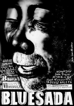 Bluesada John Lee Hooker Leszek Żebrowski Polski plakat muzyczny