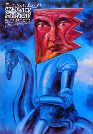 Czlowiek z La Manchy Leszek Żebrowski Polski plakat muzyczny