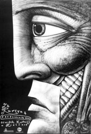 Za kurtyna 2003 Leszek Żebrowski Polski plakat teatralny