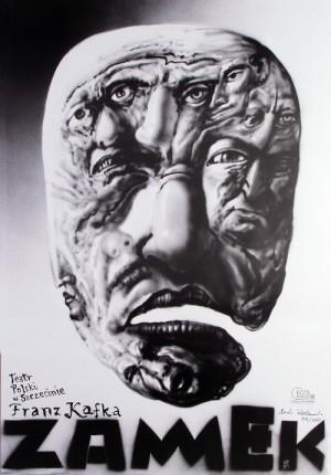 Zamek Franz Kafka Leszek Żebrowski Polski plakat teatralny