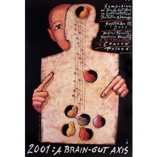 A Brain - gut axis Mieczysław Górowski Polskie Plakaty