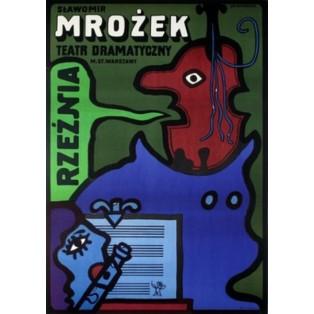 Rzeźnia Mrożek Jan Młodożeniec Polskie Plakaty Teatralne
