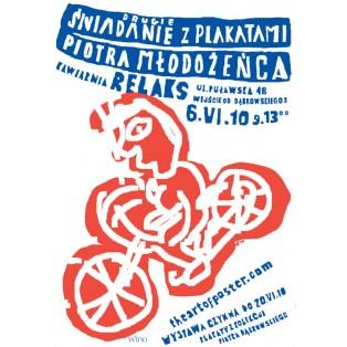 Drugie śniadanie z plakatami Piotra Młodożeńca Piotr Młodożeniec Polskie Plataty Wystawowe