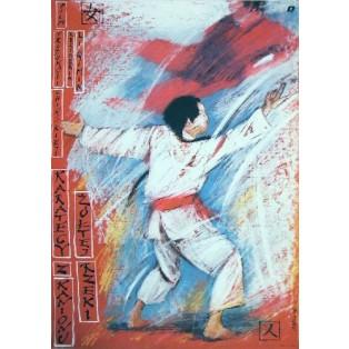 Karatecy z kanionu Żółtej Rzeki Qimin Li Andrzej Pągowski Polskie Plakaty Filmowe