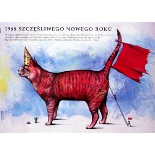 1968. Szczesliwego Nowego Roku Jacek Bromski Andrzej Pągowski Polskie Plakaty Filmowe